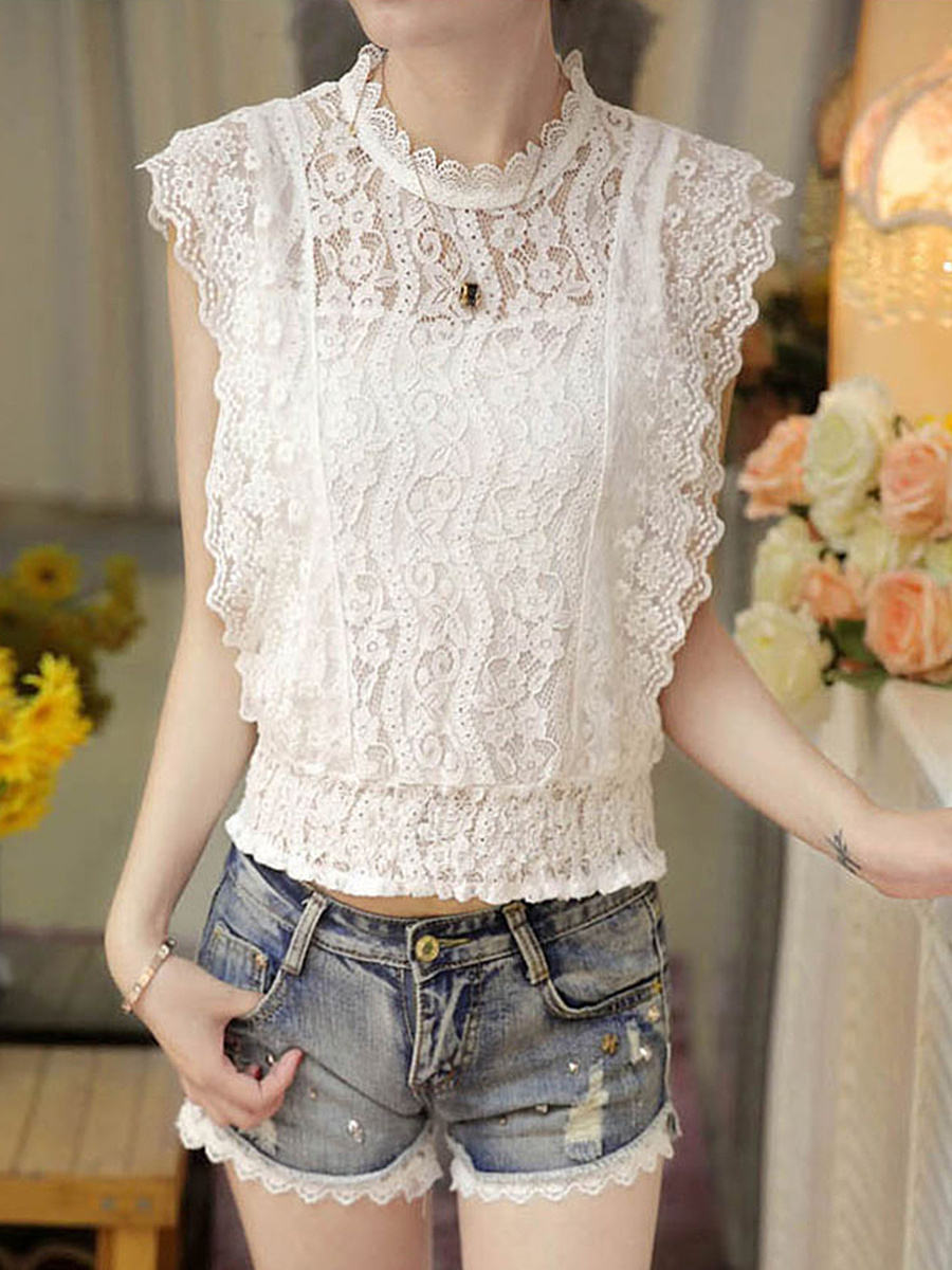 Solid Lace Hollow Out Elastic Waist Sleeveless T-Shirt