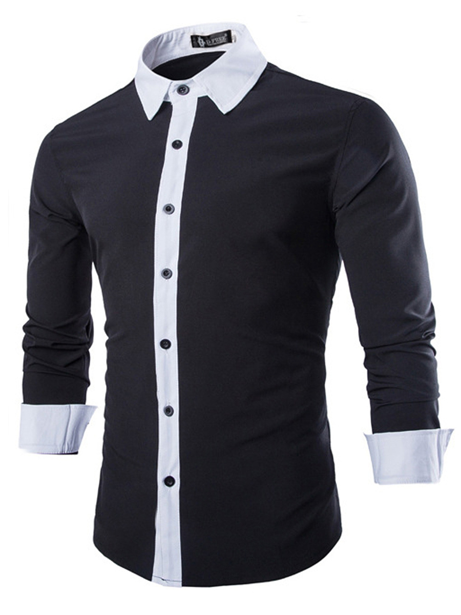 Color Block Turn Down Collar Men Shirts