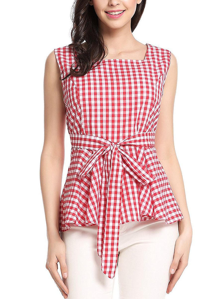 Square Neck Plaid Bowknot Peplum Sleeveless T-Shirt
