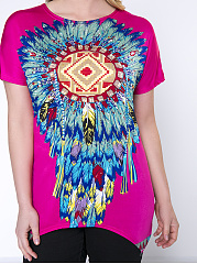 Indian Feather Printed Round Neck  Plus Size T-Shirt