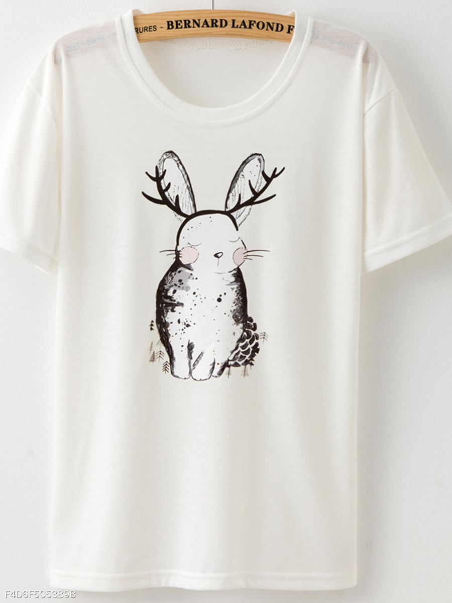 Round Neck Rabbit  Animal Prints Short Sleeve T-Shirts