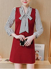 Tie Collar  Patchwork  Printed  Polyester Shift Dress