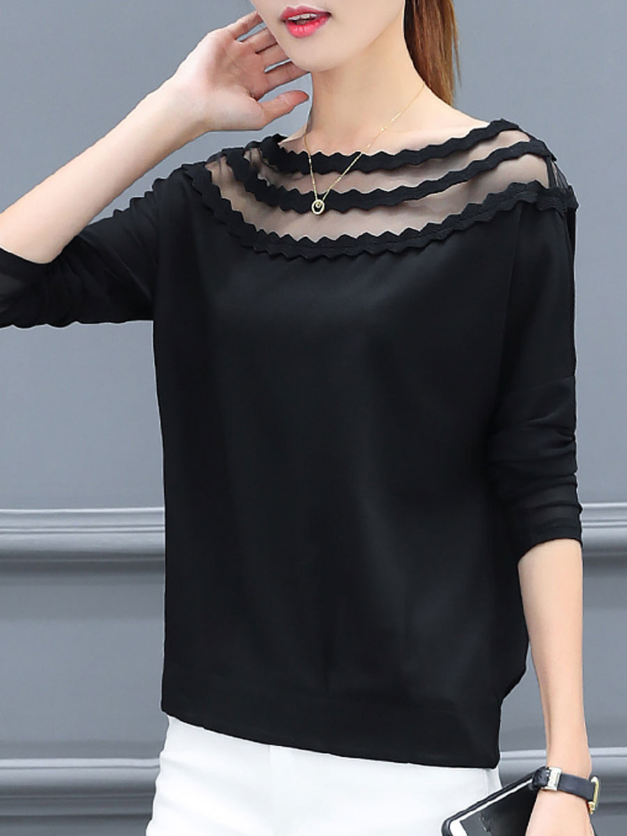 Autumn Spring  Polyester  Women  Boat Neck  See-Through  Plain  Long Sleeve Blouses