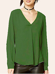 Autumn Spring  Polyester  Women  V-Neck  Plain  Long Sleeve Blouses