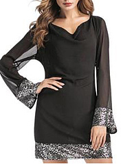 Round Neck  Glitter  Plain Shift Dress