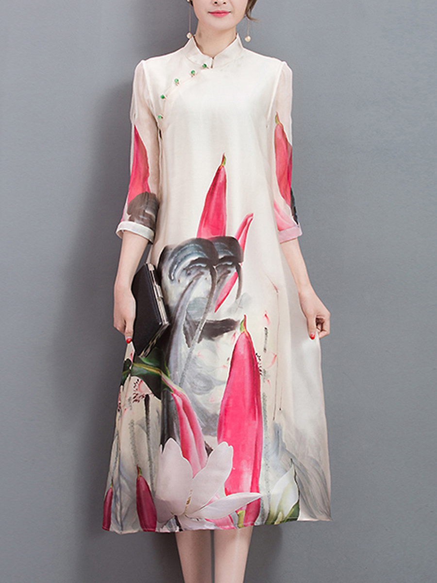 Band Collar Printed Diagonal Buttons Loose Maxi Dress