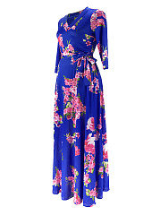 V-Neck  Belt  Floral Plus Size Midi & Maxi Dresses