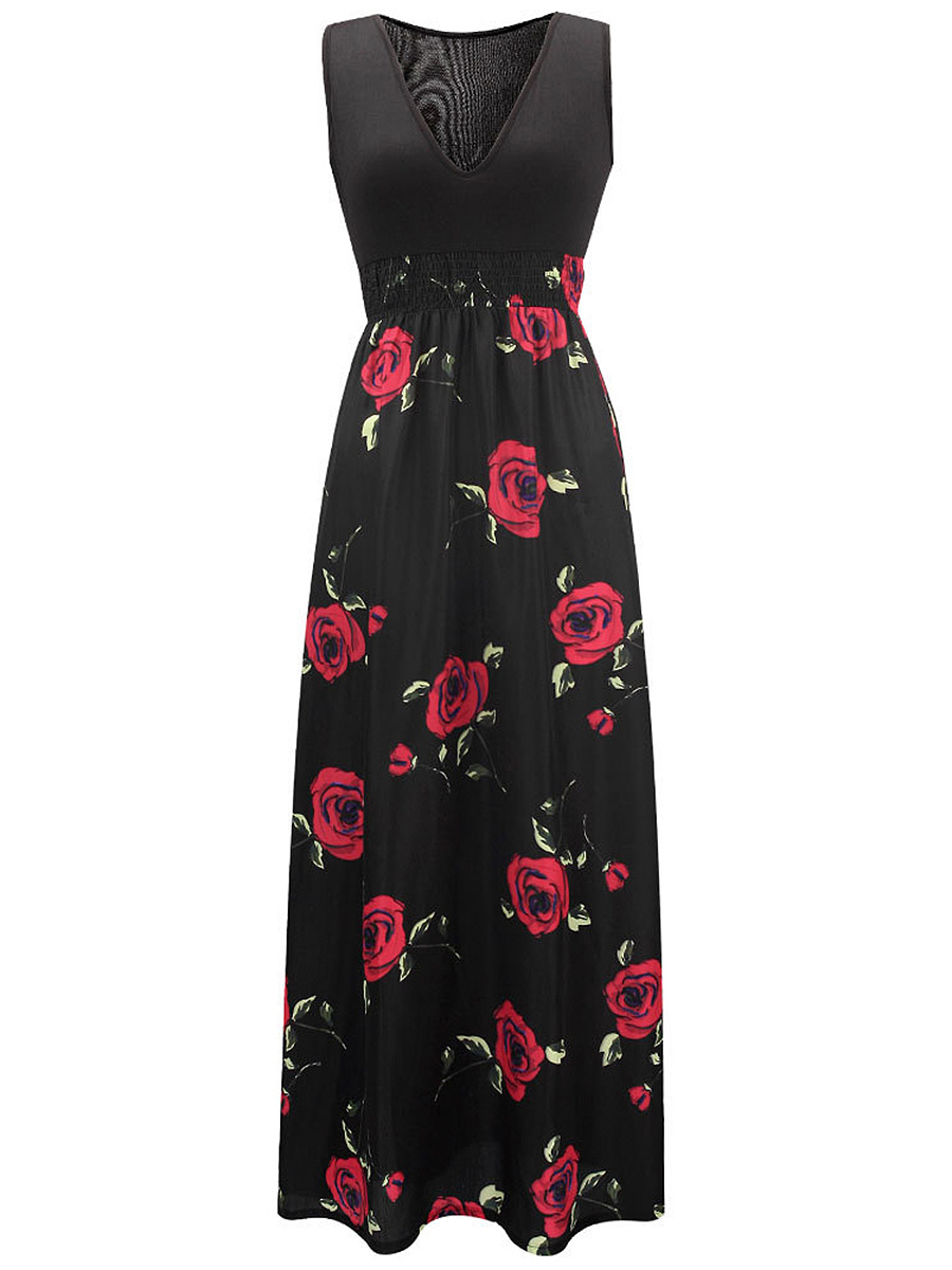 Hot Empire Deep V-Neck Elastic Waist Floral Printed Maxi Dress