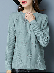 Round Neck  Beading  Embossed Plain  Long Sleeve Sweaters Pullover