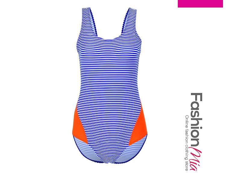 Round Neck  Backless  Striped One Piece Swimwear