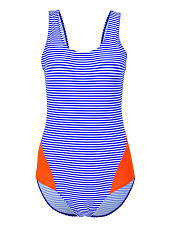 Round Neck  Backless  Striped One Piece Swimwear