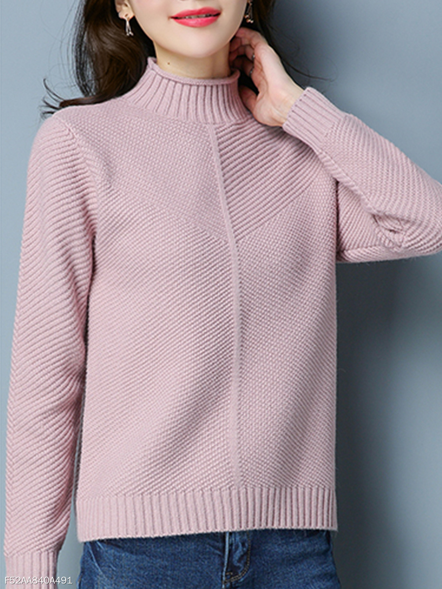 High Neck  Knit Plain  Long Sleeve Sweaters Pullover