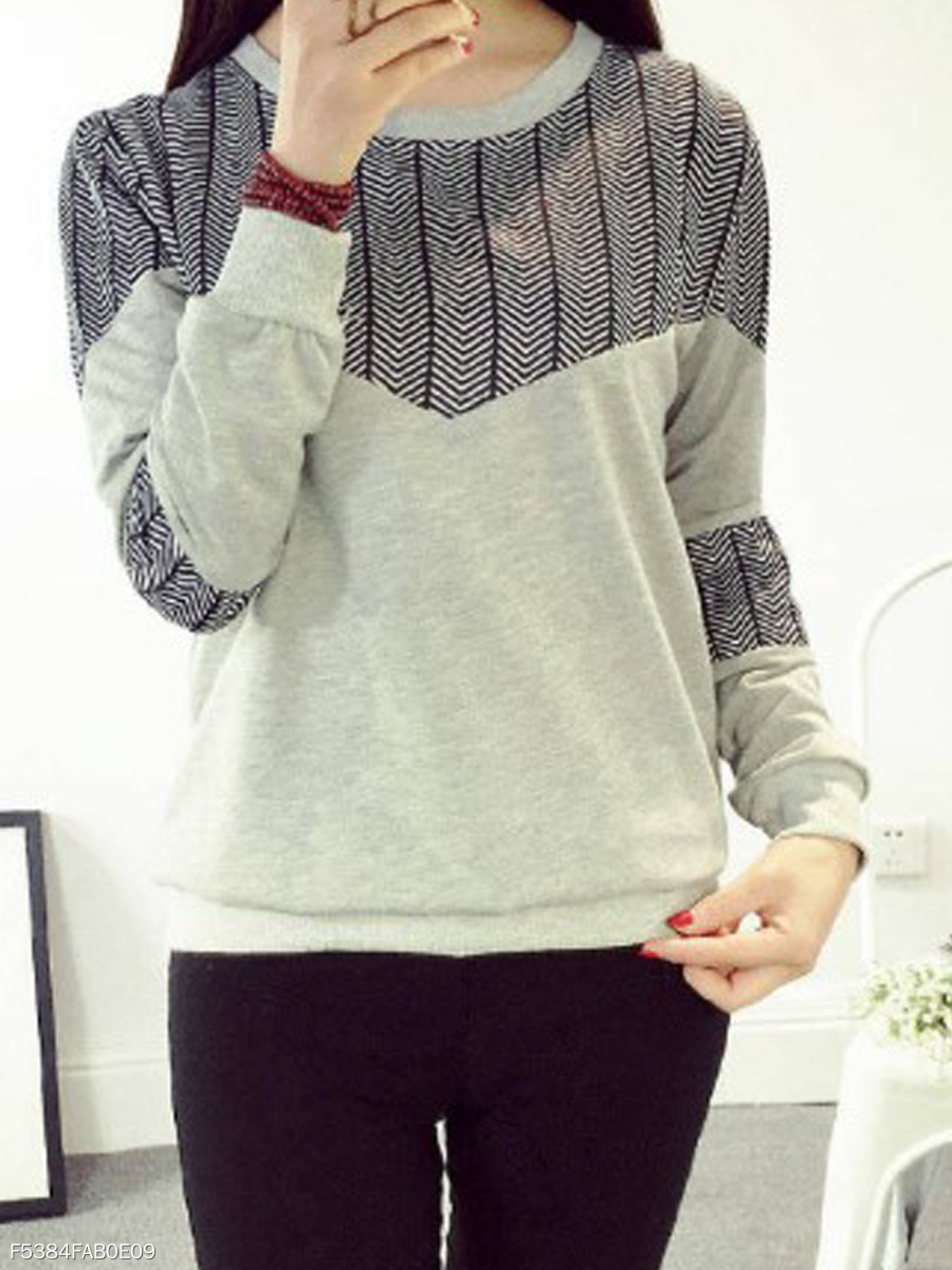 Autumn Spring Winter  Polyester  Women  Round Neck  Patchwork  Houndstooth Long Sleeve T-Shirts