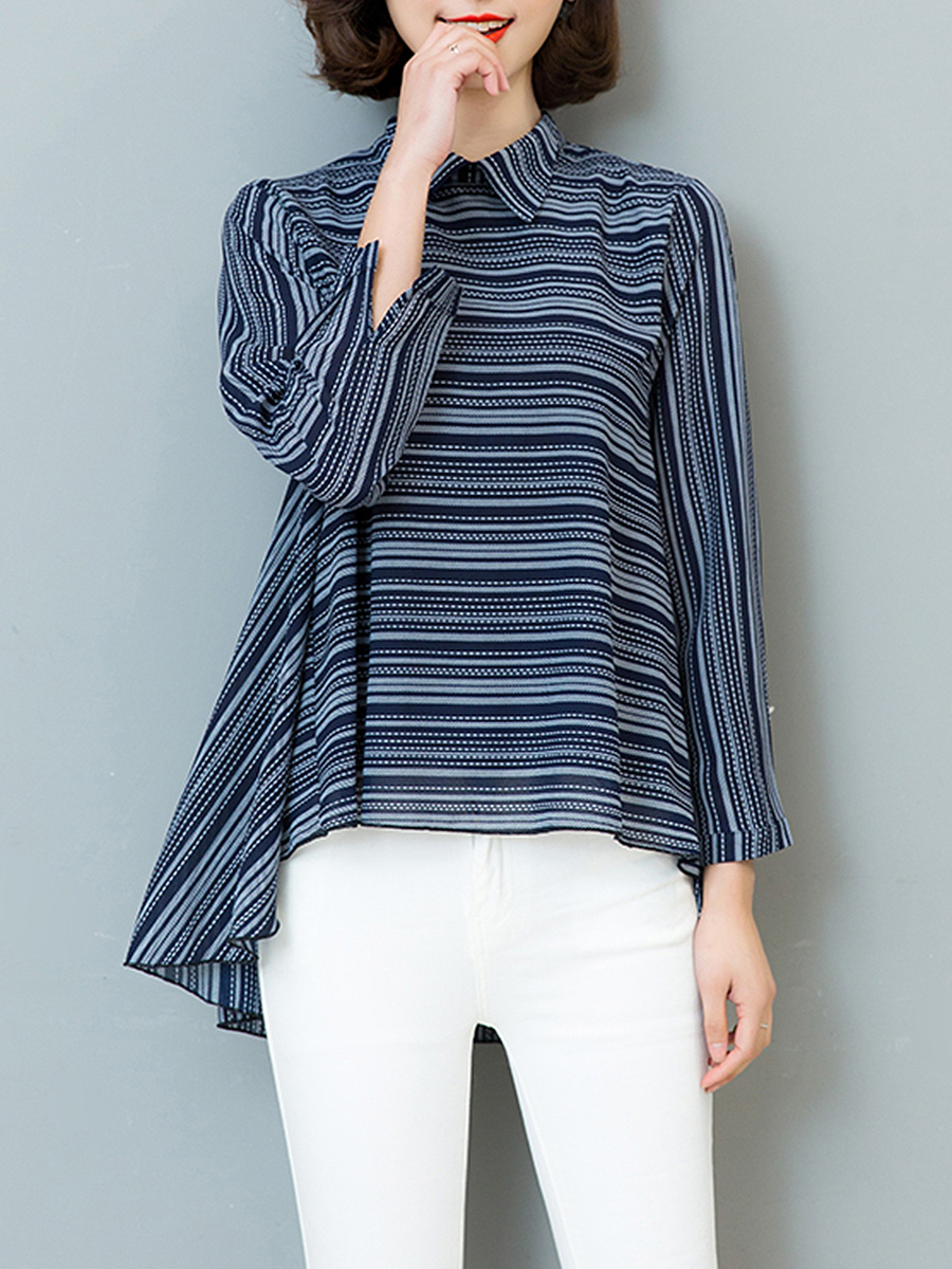 Doll Collar Striped High-Low Long Sleeve T-Shirt