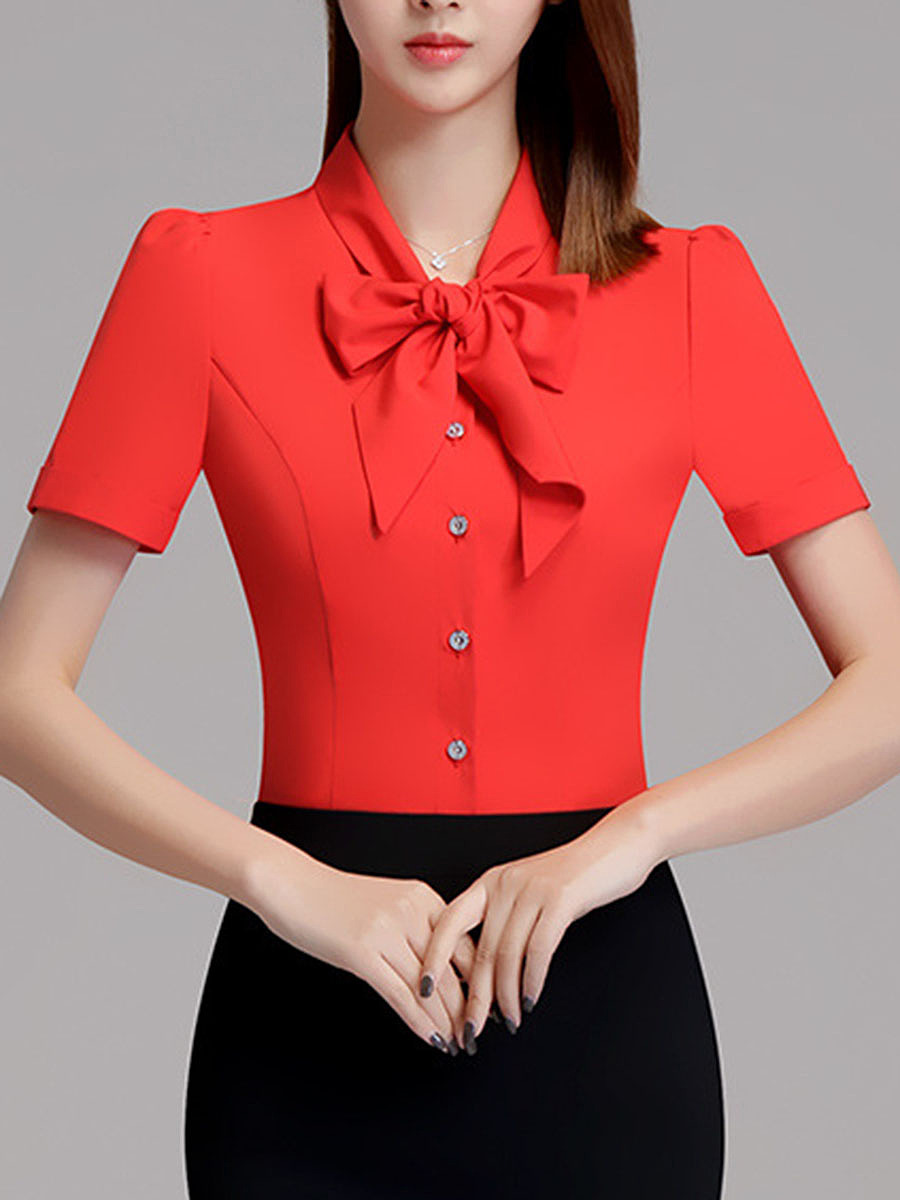 Tie Collar Two Way Plain Brooch Blouse