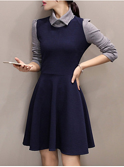 Doll Collar Color Block Mini Skater Dress