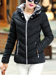 Hooded Quilted Zips Pocket Padded Coat