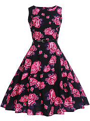 Vintage Floral Printed Belt Round Neck Skater Dress