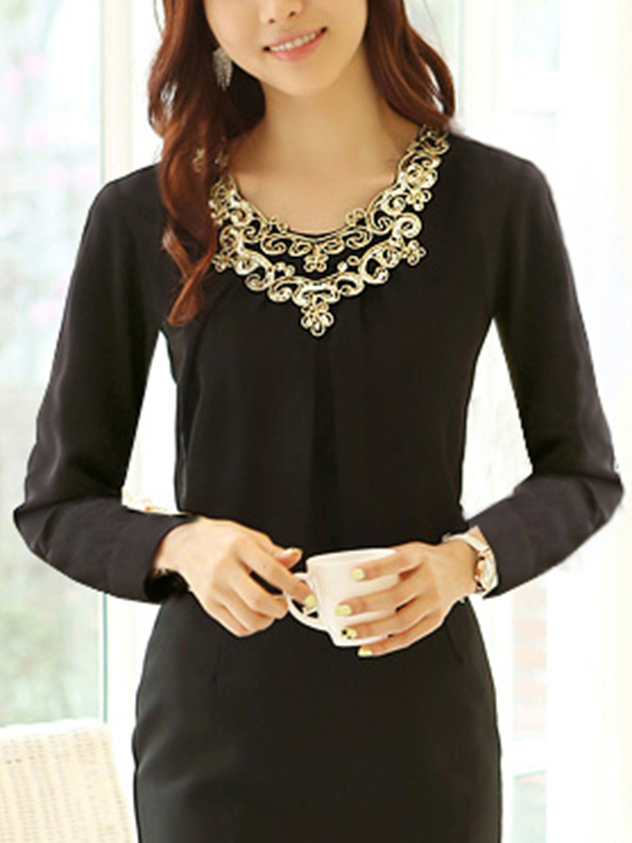 Round Neck Long Sleeve Glitter Blouse
