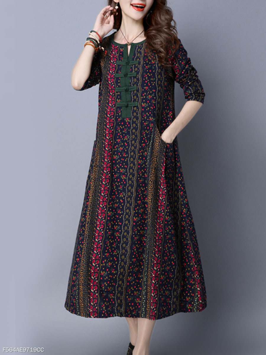 Round Neck Oversized Linen Printed Maxi Dress