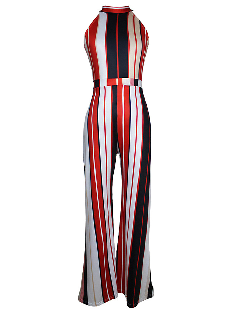 Band Collar  Vertical Striped  Wide-Leg Jumpsuit