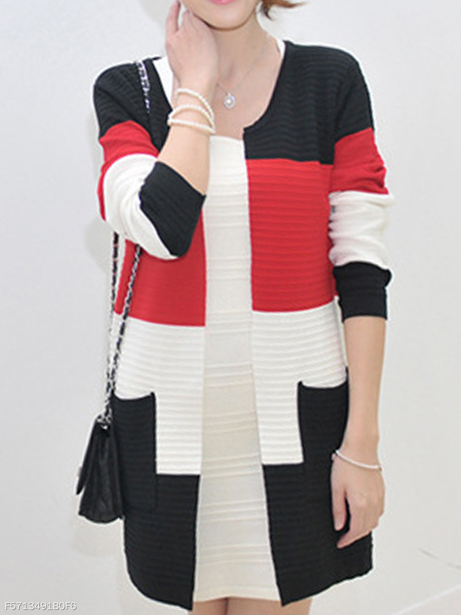 Loose Fitting  Color Block Knit Cardigans