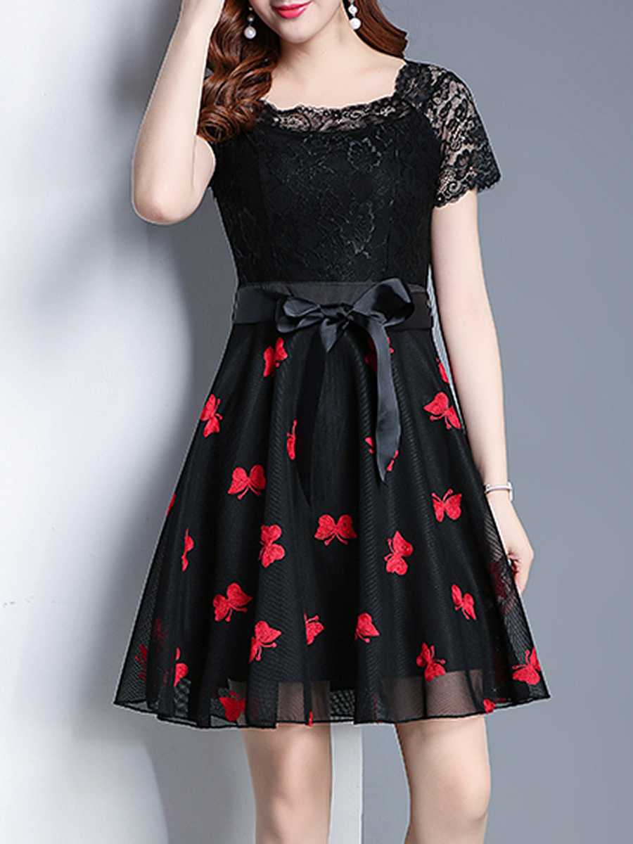 Square Neck Embroidery Hollow Out Skater Dress