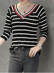 Autumn Spring  Polyester  Women  V-Neck  Striped Long Sleeve T-Shirts