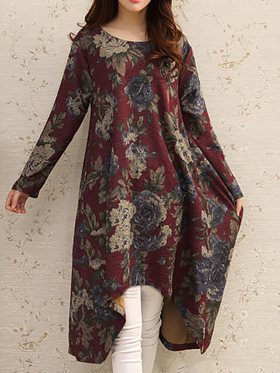 printed casual autumn winter shift Round Neck  Printed  Cotton Blend Shift Dress