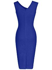Asymmetric Neck  Plain  Blend Bodycon Dress