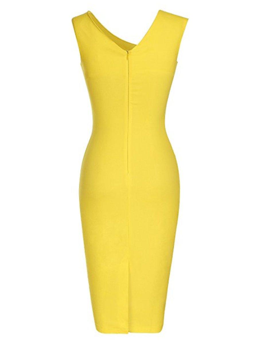 Asymmetric Neck  Plain  Blend Bodycon Dress