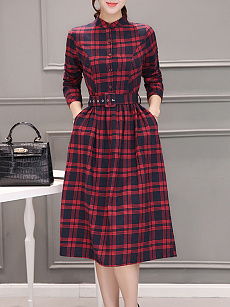 Round Neck  Patch Pocket Single Breasted  Plaid Skater Dress