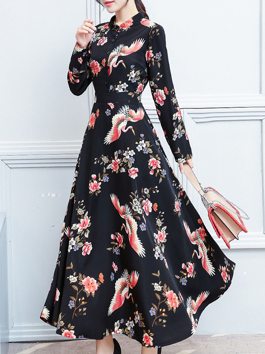 Band Collar Printed Swing Maxi Dress