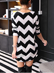 Casual Zigzag Striped Mini Shift Dress