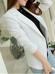 Awesome Notch Lapel Single Button Plain Blazer