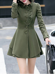 V-Neck  Ruffle Trim  Plain  Long Sleeve Trench Coats