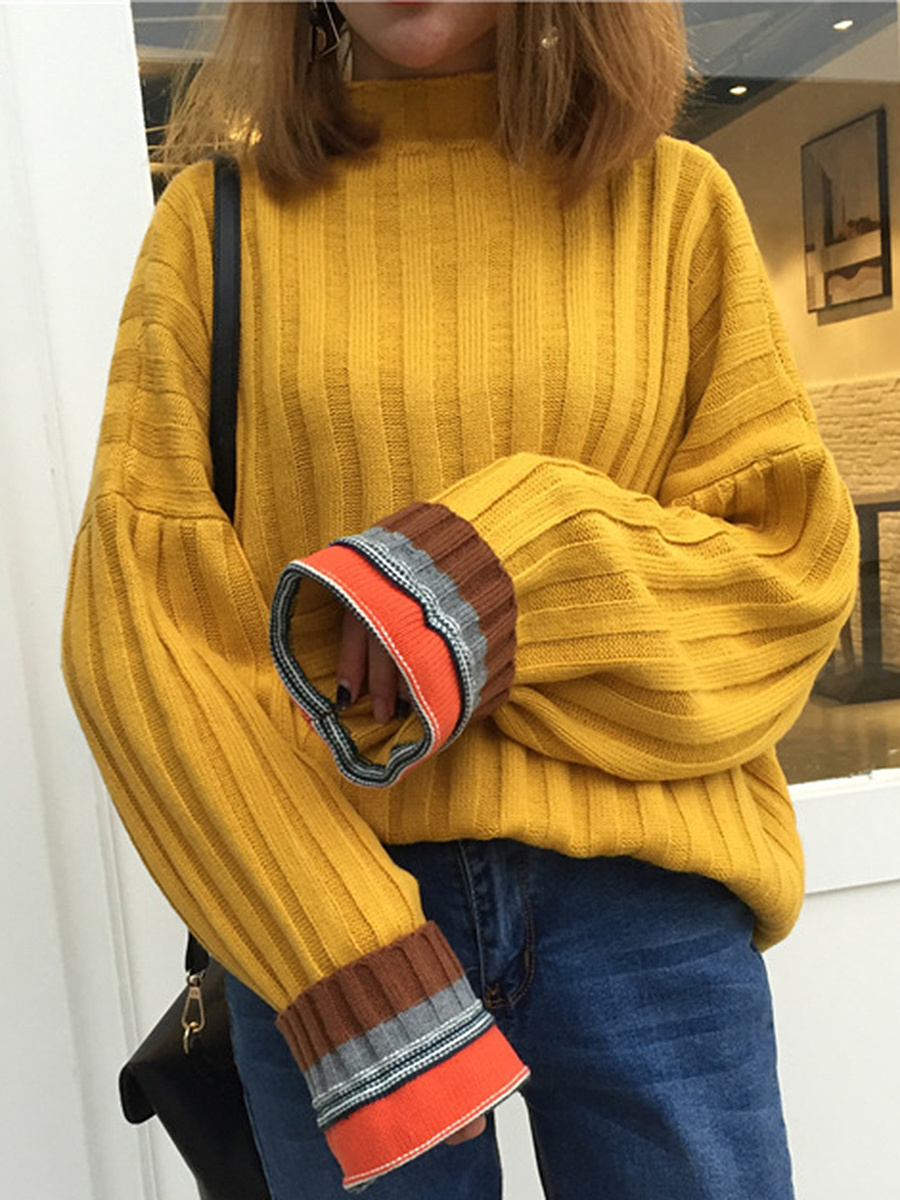 Oversized High Neck  Striped Pullover