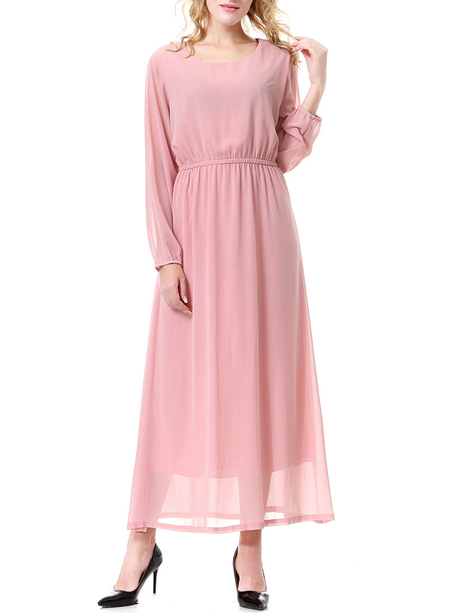 Round Neck  Elastic Waist  Plain Maxi Dress