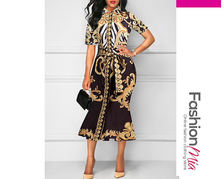 Fold-Over Collar  Abstract Print Bodycon Dress