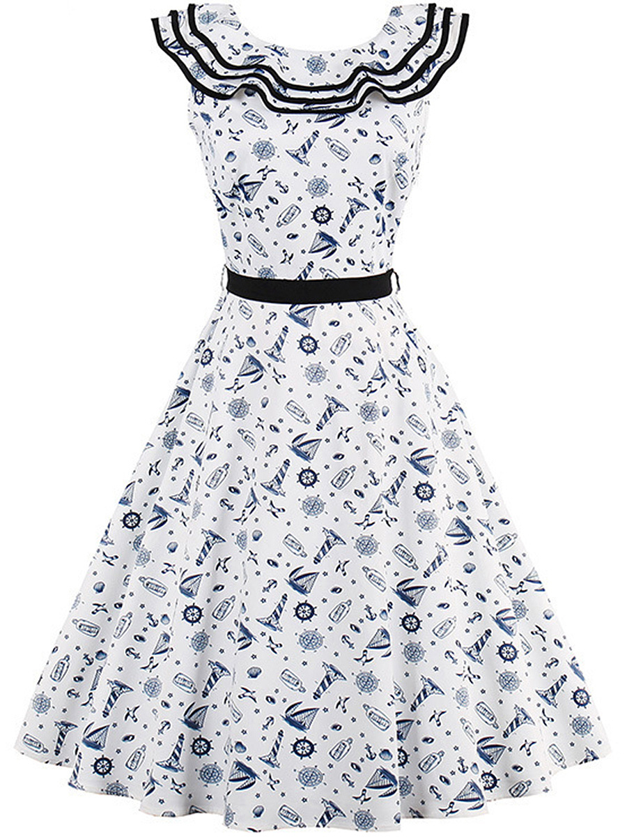 Nifty Printed Sailor Collar Midi Skater Dress