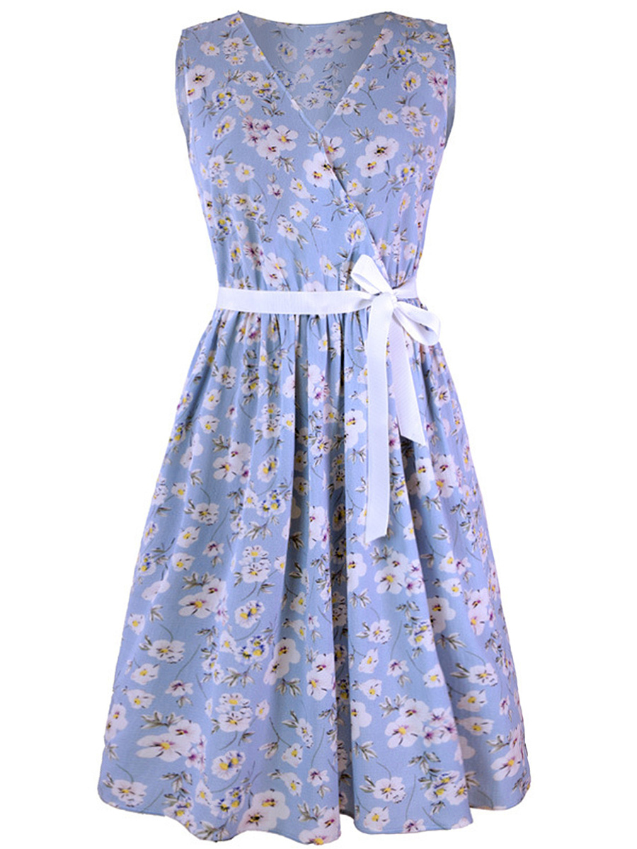 Floral Printed Casual V-Neck  Bowknot  Skater Dress