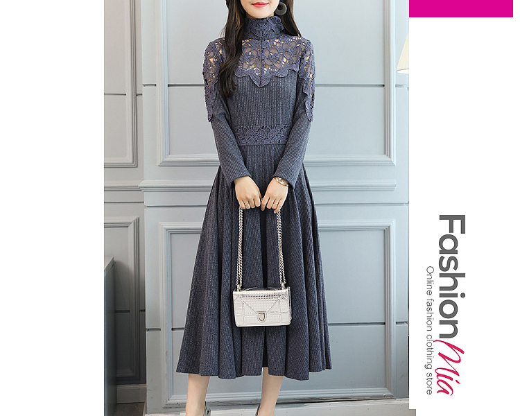 style:fashion, material:polyester, collar&neckline:turtleneck, sleeve:long sleeve, pattern_type:hollow out,lace,plain, length:midi, how_to_wash:cold  hand wash, supplementary_matters:all dimensions are measured manually with a deviation of 2 to 4cm., occasion:date, dress_silhouette:flared, package_included:dress*1, lengthbustwaist