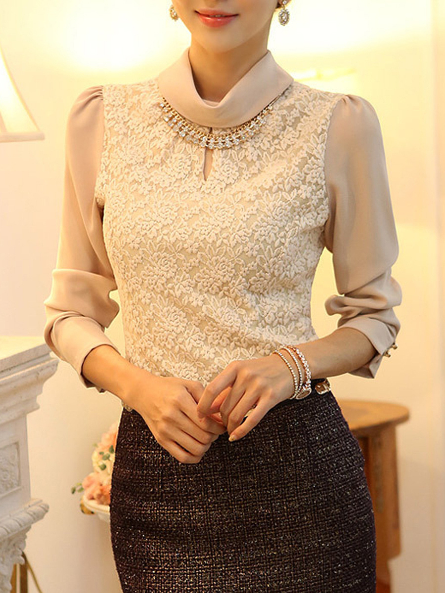 Turtleneck  Beading  Lace Plain Long Sleeve T-Shirt