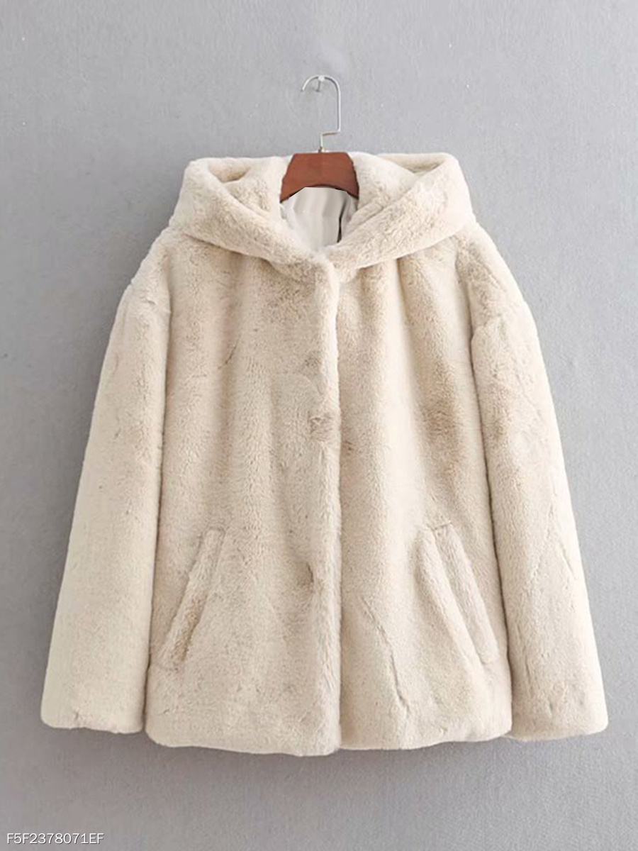 Hooded  Slit Pocket  Plain  Long Sleeve Coats