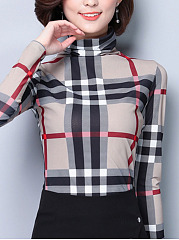 High Neck  Checkered Long Sleeve T-Shirts