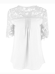 Lace Plain  Half Sleeve Plus Size Blouses