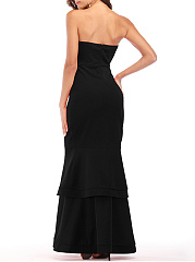 Strapless Plain Layered Mermaid Evening Dress
