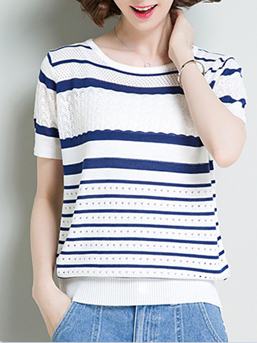 Polyester  Women  Round Neck  Striped  Short Sleeve Short Sleeve T-Shirts