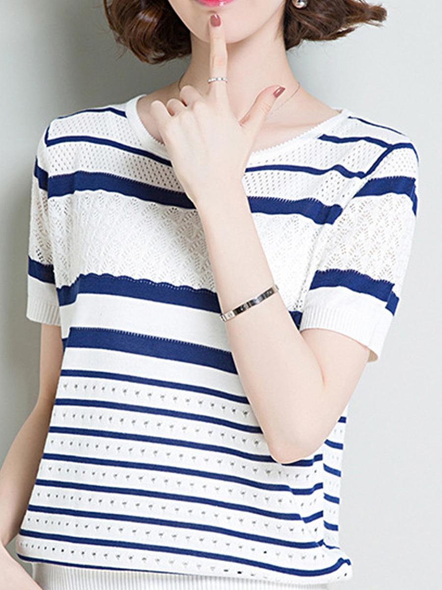 Polyester  Women  Round Neck  Striped  Short Sleeve Short Sleeve T-Shirts