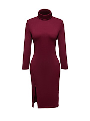 Turtleneck Side Slit Plain Bodycon Dress